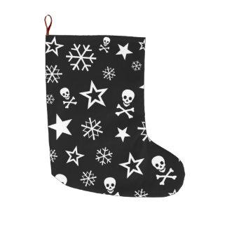 Skulls and Snowflakes Large Christmas Stocking