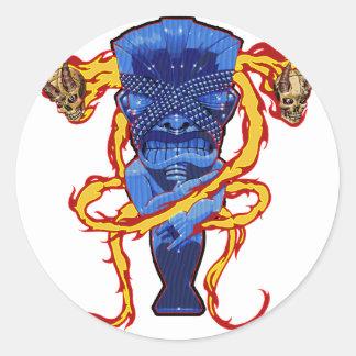 Skulls and Tikis Classic Round Sticker