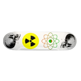 Skulls Atom Radiation Sign Skateboard
