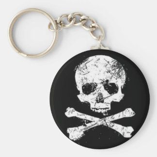 skulls basic round button key ring