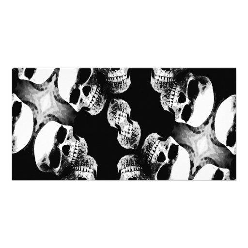 Skulls Black & White Customized Photo Card