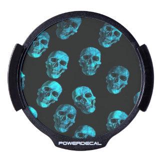 skulls blue LED window decal