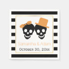 Skulls couple and stripes Halloween wedding Disposable Serviette