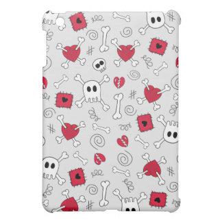 Skulls Crossbones Broken Hearts Doodles iPad Mini Cover