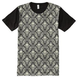 Skulls & Crosses Black and Cream Damask Pattern All-Over Print T-Shirt