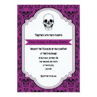Skulls damask purple, black Halloween wedding Card