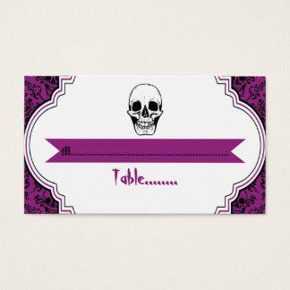 Skulls damask purple, black wedding place card