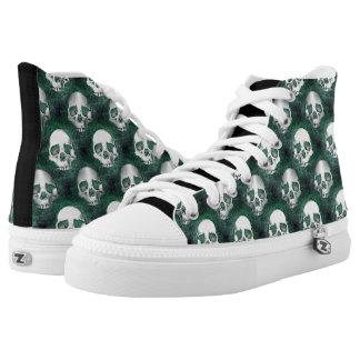 Skulls - Dark Green Background Printed Shoes