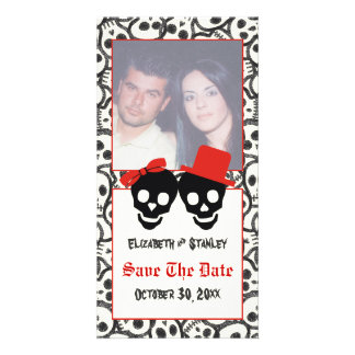 Skulls Halloween red black wedding Save the Date Photo Cards