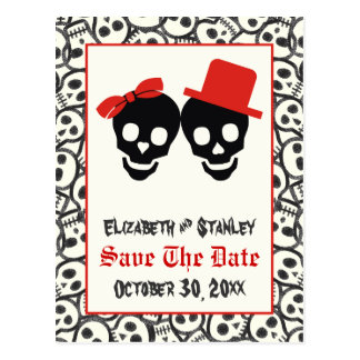 Skulls Halloween red black wedding Save the Date Postcard