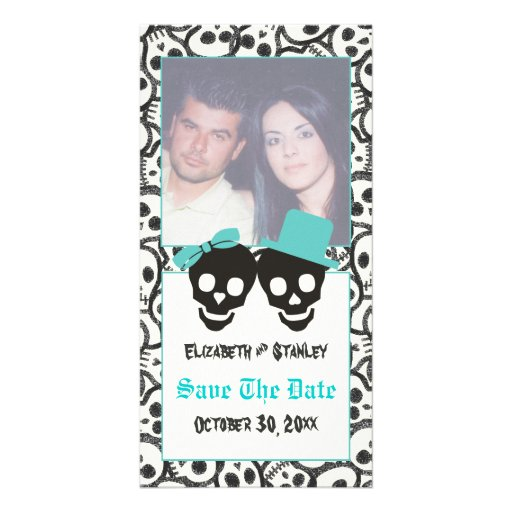 Skulls Halloween Turquoise wedding Save the Date Photo Card Template