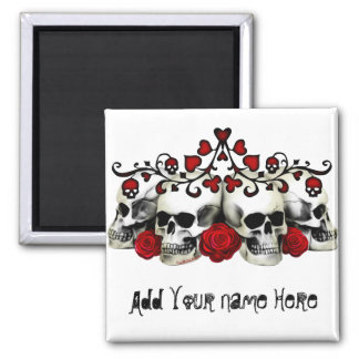 Skulls, Hearts And Roses Square Magnet