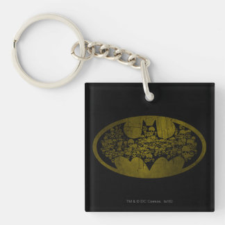 Skulls in Bat Symbol Double-Sided Square Acrylic Key Ring