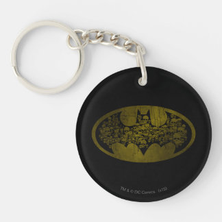 Skulls in Bat Symbol Double-Sided Round Acrylic Key Ring