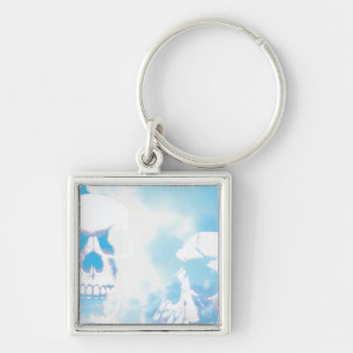 Skulls in the Clouds Silver-Colored Square Key Ring
