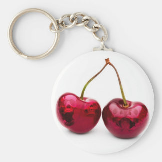 skulls n' cherries basic round button key ring