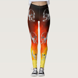 Skulls on Fire Leggings