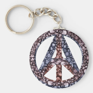 Skulls, Peace & Anarchy Basic Round Button Key Ring
