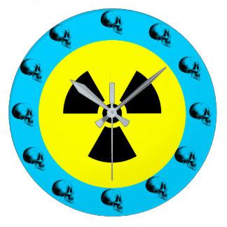 Skulls Radiation Sign Wall Clock,Turquoise Large Clock