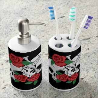 Skulls, Roses ahd Dagger Soap Dispenser And Toothbrush Holder