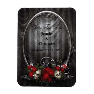 Skulls Roses Gothic Save The Date Wedding Magnet