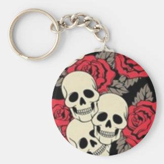 Skulls & Roses Round Button Keychain