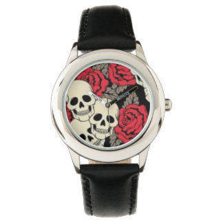 Skulls & Roses Stainless Steel Black Wristwatches