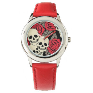 Skulls & Roses Stainless Steel Red Wristwatch