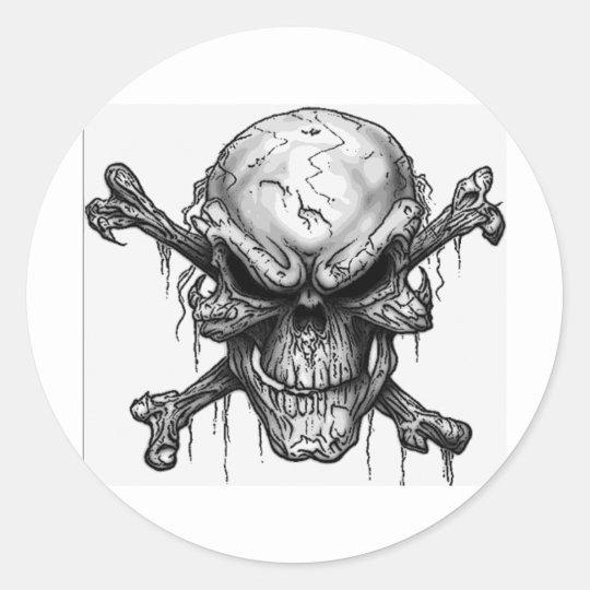 skulls round sticker