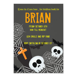 Skulls spider webs and rip hallowen birthday party invite