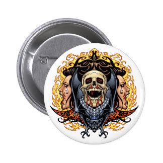Skulls Vampires and Bats customizable by Al Rio Pinback Button