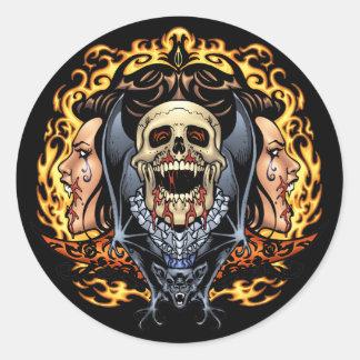 Skulls, Vampires and Bats customizable by Al Rio. Round Sticker