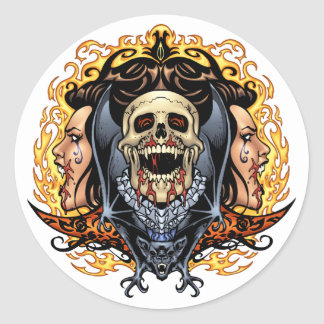 Skulls, Vampires and Bats customizable by Al Rio. Classic Round Sticker