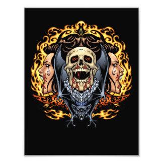 Skulls, Vampires and Bats Gothic Design by Al Rio Art Photo