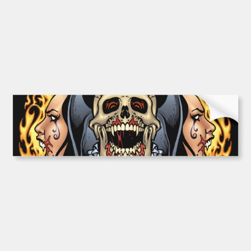 Skulls, Vampires and Bats Gothic Design by Al Rio Bumper Sticker