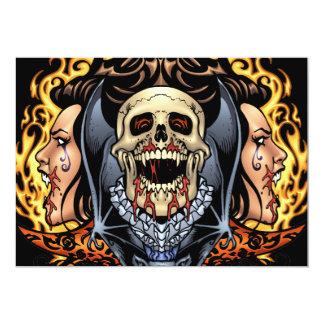 "Skulls, Vampires and Bats Gothic Design by Al Rio 5"" X 7"" Invitation Card"