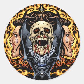 Skulls, Vampires and Bats Gothic Design by Al Rio Round Sticker