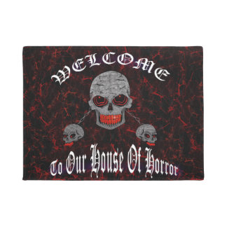 Skulls Welcome To Our House Of Horror Doormat