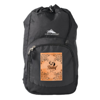 Skulls with crow and decorative floral elements backpack