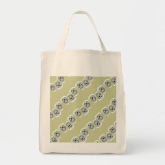 Skulls with green grocery tote bag