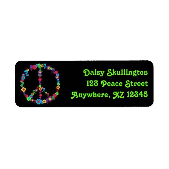 Skully Flower Power Peace Return Address Label