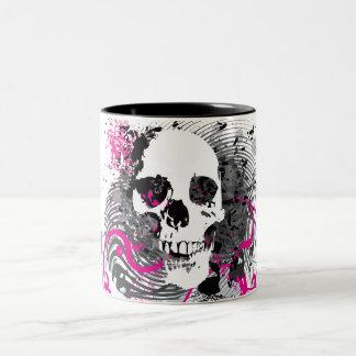 skullz. straight twisted arrows. Two-Tone coffee mug