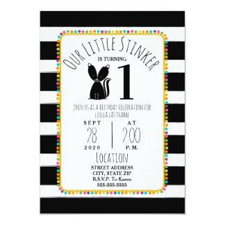 Skunk Little Stinker Pompom Stripes Birthday Party Card