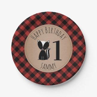 Skunk Lumberjack Plaid Baby Birthday Paper Plate