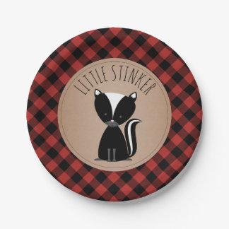 Skunk Lumberjack Plaid Baby Shower Paper Plate