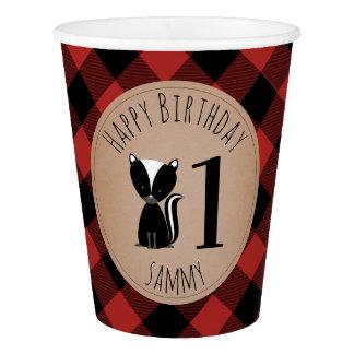 Skunk  Lumberjack Plaid Birthday Party Paper Cup