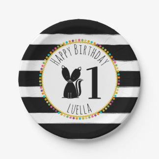 Skunk Pompom Stripes Birthday Paper Plate
