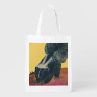 skunk print reusable grocery bag