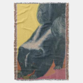 skunk print throw blanket