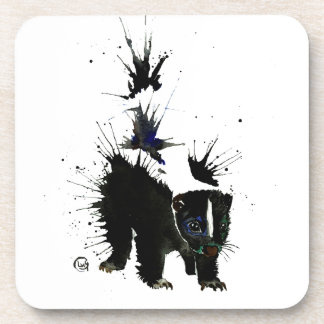 Skunk watercolour painting coaster